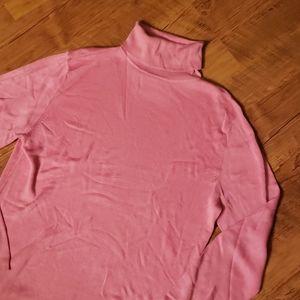Ann Taylor 100% silk pink turtleneck sweater.